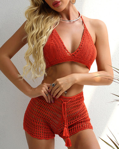 Hollow Out Tassel Halter Crochet Bikini Set