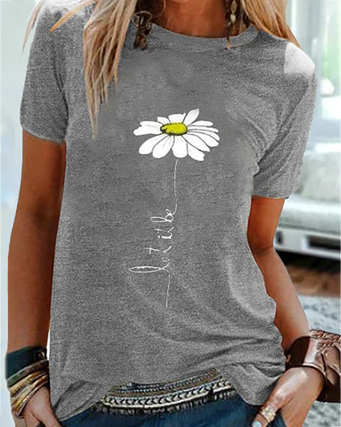 Daisy Print Round Neck Casual T-shirt