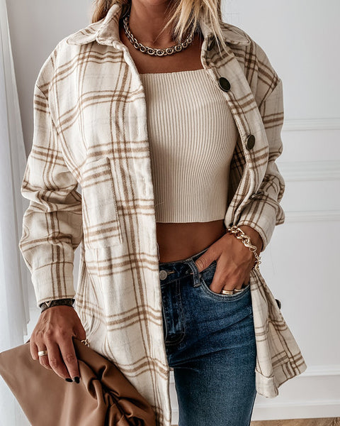 Plaid Print Buttoned Long Sleeve Casual Shirt