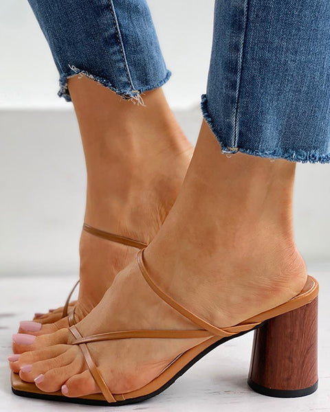 Toe Post Solid Chunky Heels