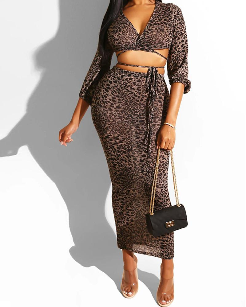 Leopard Deep V Neck Long Sleeve Criss Cross Crop Top & Midi Skirt Sets