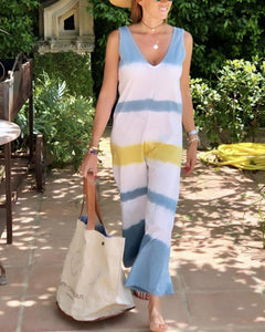 Stripe deep V casual wide leg jumpsuits