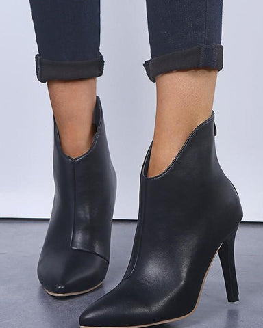 Pointed High Heel Zipper Boots