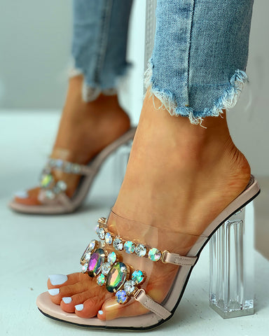 Transparent Strap Studded Heeled Sandals