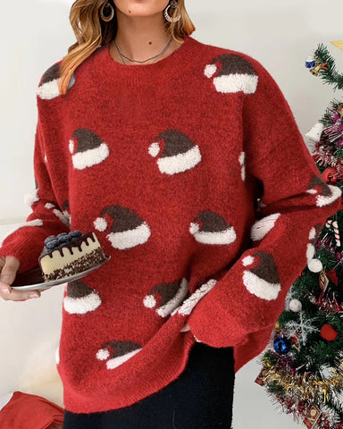 Christmas Hat Print Long Sleeve Sweater