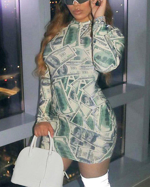 Dollar Print Long Sleeve Dress