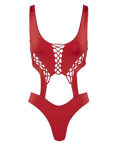 Lace-up Cutout One Piece Swimsuit