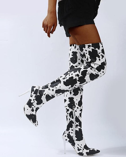 Dairy Patterns Printing Hight Heel Over Knee Boots