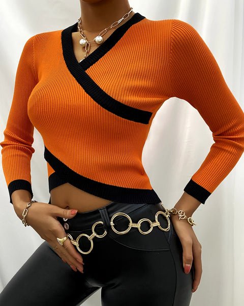 Contrast Binding Long Sleeve Knit Crop Top