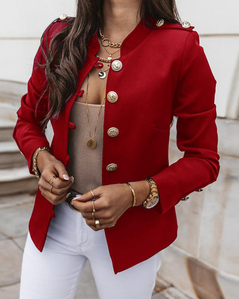 Button Design Long Sleeve Blazer Coat