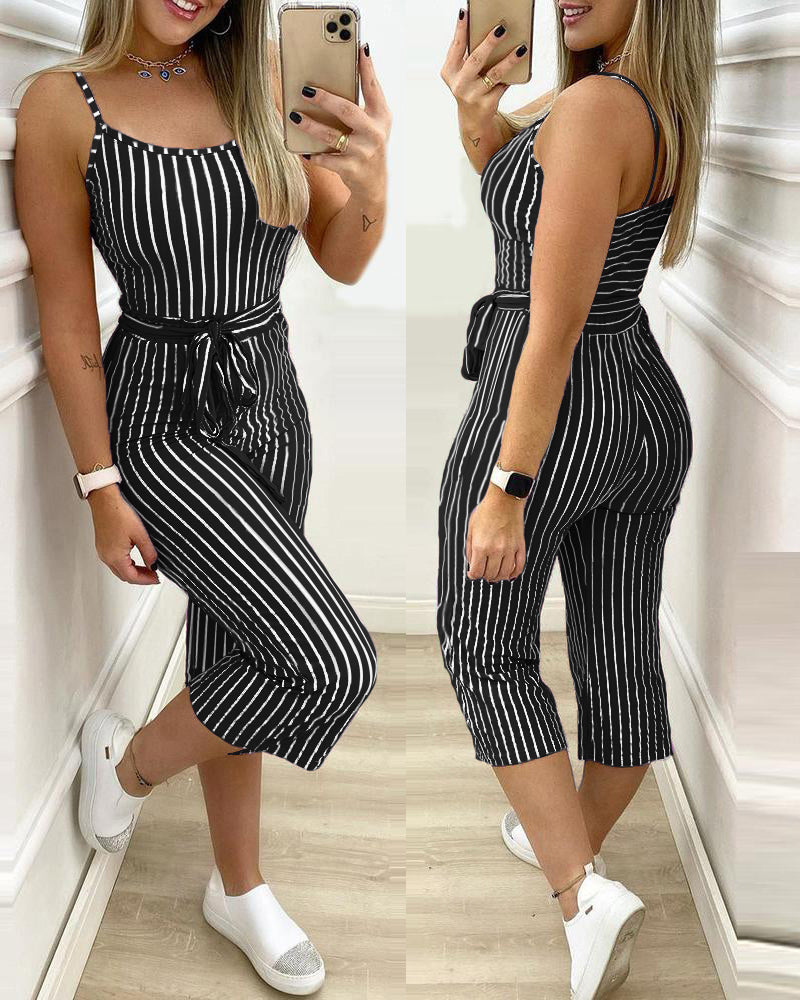 Striped Colorblock Cropped Jumpsuit With Belt