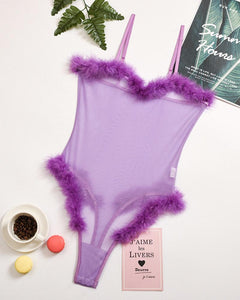 Solid Feather Patchwork Strap See-through Bodysuit
