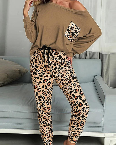 Splicing Leopard Long Sleeve Casual Pant Sets