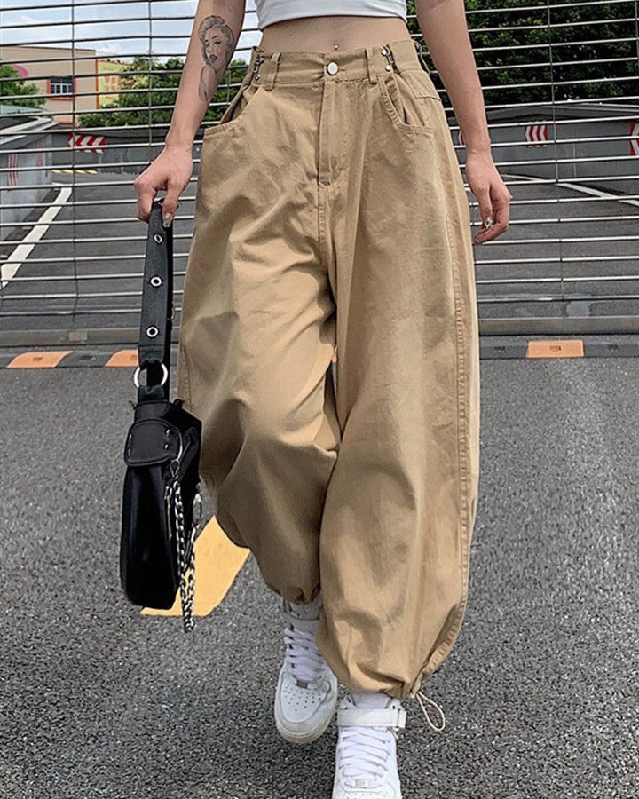 Solid Color Drawstring Cargo Pants