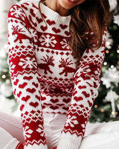 Christmas Reindeer Heart Snow Print Knit Sweater