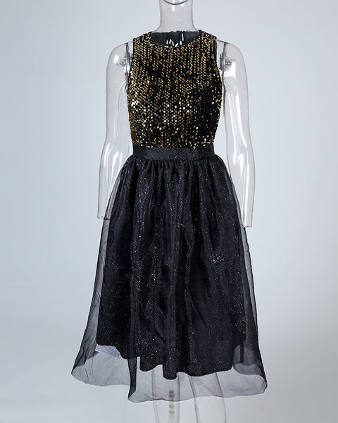 Mesh Sleeveless Sequins Party Dress