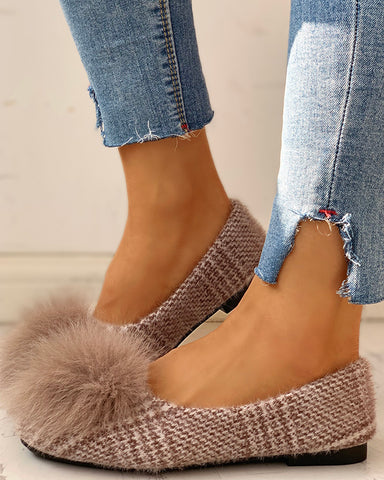 Fluffed Design Flat Shoes