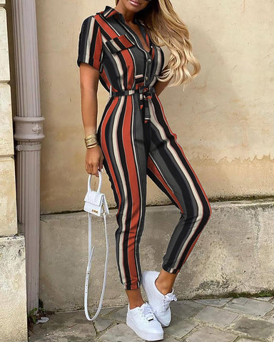 Striped Short Sleeve Buttoned Jumpsuit