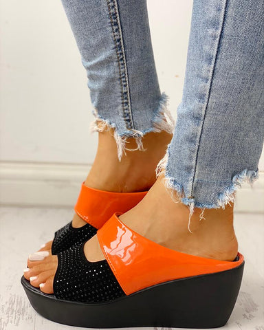 Glitter Studded Muffin Wedge Sandals