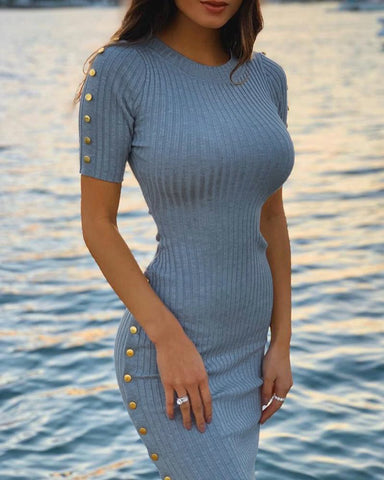 Solid Ribbed Buttoned Detail Bodycon Dress