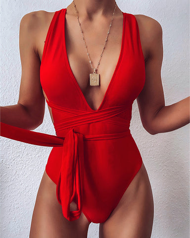 Crisscross Bandage One Piece Swimsuit
