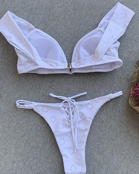Off Shoulder Hollow Out Bikini Sets