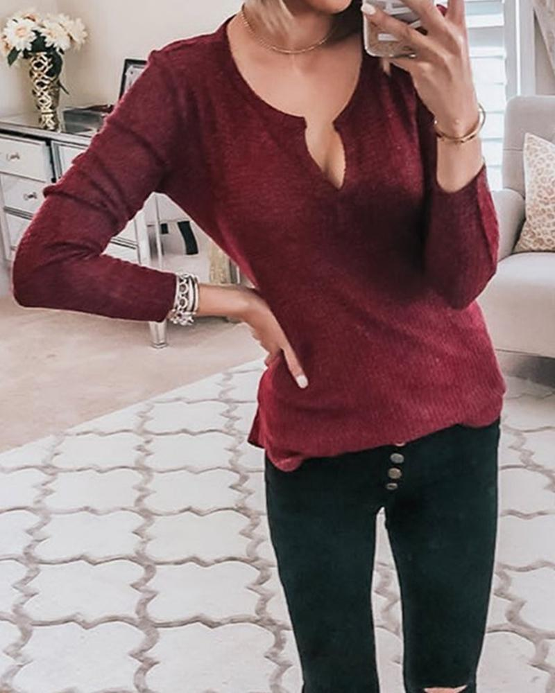 Solid Ribbed Long Sleeve Basic Knit