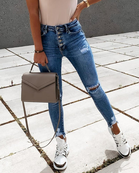 Cutout Ripped Button Design Casual Jeans