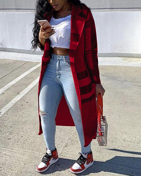 Plaid Long Sleeve Loose Trench Coats