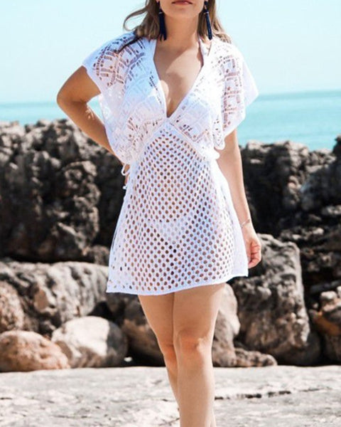 Solid Color Hollow-out Short Sleeve Mini DressCover Ups