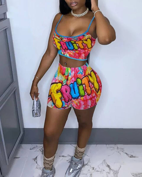 Cartoon Letter Print Spaghetti Strap Top & Shorts Set
