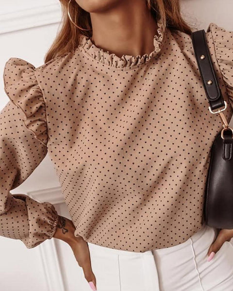 Ruffle Solid Color Long Sleeve Blouse