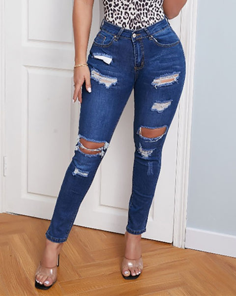Ripped Cutout Casual Denim Pants