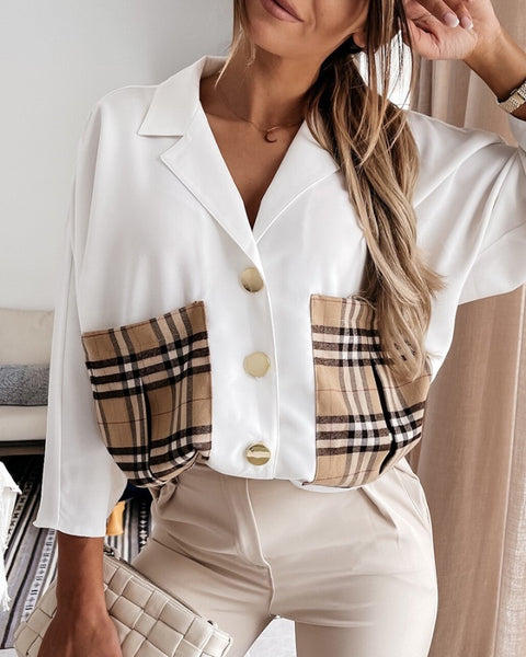 Plaid Print Pocket Design Long Sleeve Shirt