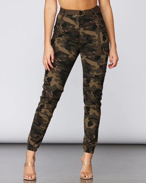 Camouflage Print Pocket Design Pants