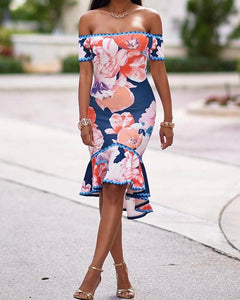 Floral Off Shoulder Flounced Hem Bodycon Dress