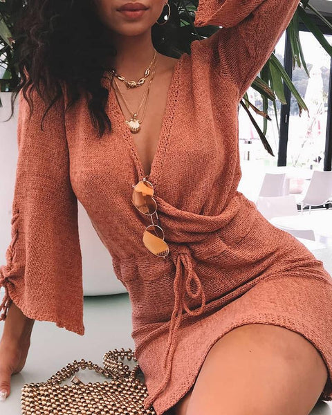 Tie Cuff Wrap Sweater Dress