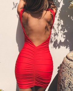 Open Back Ruched Design Bodycon Dress