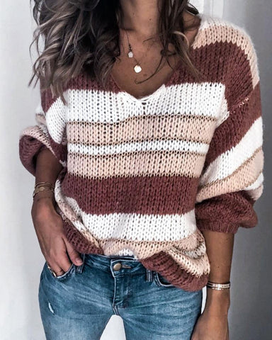 V Neck Loose Knit Sweater