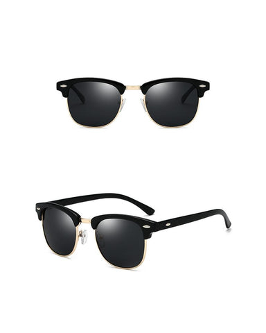 Colorblock Round Metal Frame Sunglasses