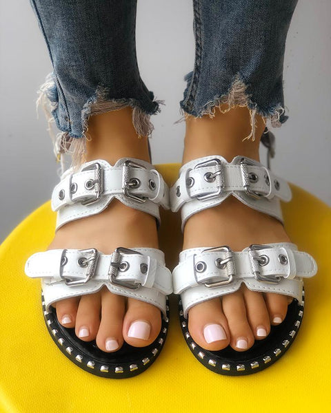 Double Buckle Design Peep Toe Flat Sandals