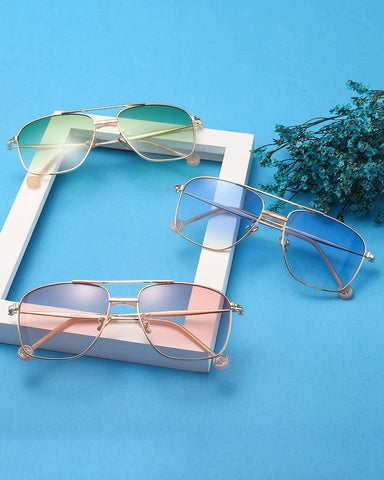 Square Metal Frame Flexible Sunglasses