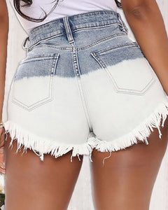 Colorblock Fringe Hem Ripped Denim Shorts