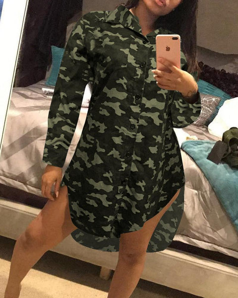 Camouflage Long Sleeve Loose Button-down Shirt Dress