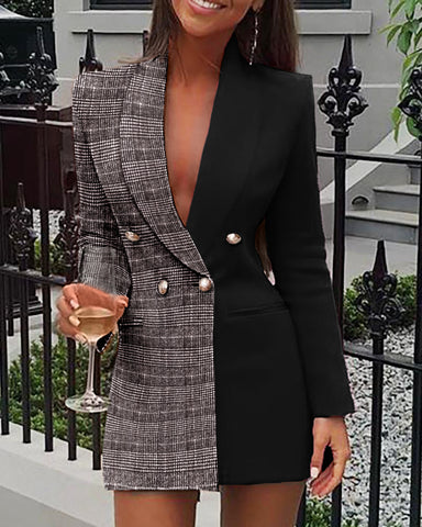 Plaid Colorblock Double Breasted Blazer Dress