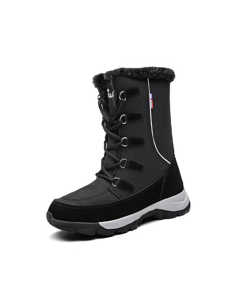 Colorblock Waterproof Lace-up Boots