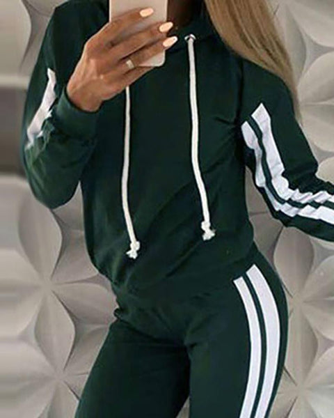 Striped Tape Long Sleeve Hooded Top & Pants Set