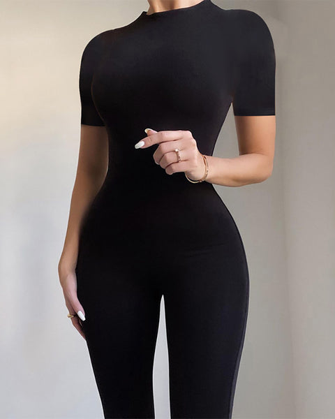 Plain Round Neck Short Sleeve Jumpsuit With Zipper