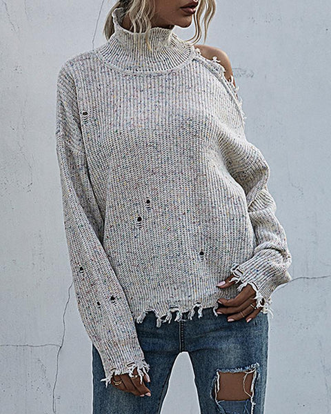 Cold Shoulder Hollow Out Fringe Hem Knit Sweater