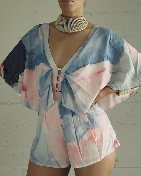 V Neck Bat Sleeve Tie Dye Printed Romper